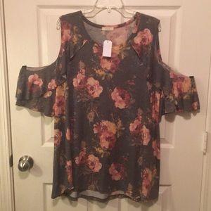 Plus size cold shoulder, floral cotton shirt